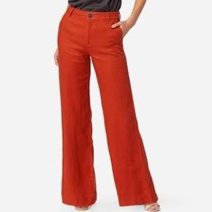 J. Crew Bright Red 100% Linen Wide Lags Pants